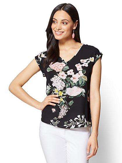 7th Avenue - V-Neck Hi-Lo Top - Floral - Petite - New York & Company