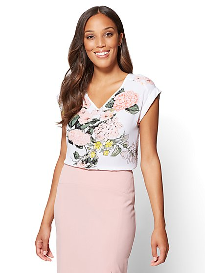 7th Avenue - V-Neck Hi-Lo Top - Floral - Petite - New York & Company