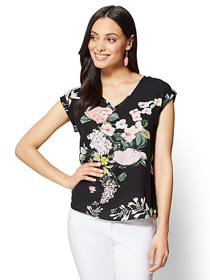 7th Avenue - V-Neck Hi-Lo Top - Floral - Tall - New York & Company