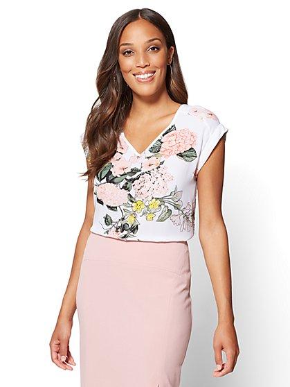 7th Avenue - V-Neck Hi-Lo Top - Floral - Tall - New York & Company