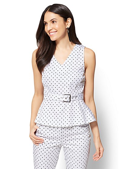 7th Avenue – V-Neck Peplum Shirt – Polka-Dot - New York & Company