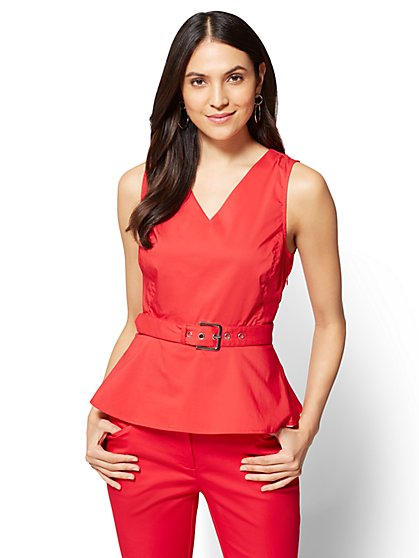 7th Avenue – V-Neck Peplum Shirt - New York & Company