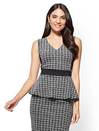 7th Avenue - V-Neck Peplum Top - New York & Company