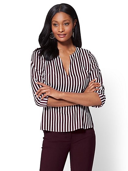7th Avenue - V-Neck Popover Blouse - Stripe - New York & Company