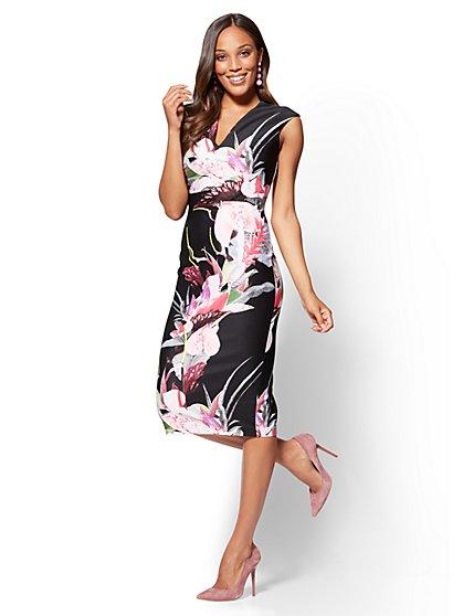 7th Avenue - V-Neck Sheath Dress - Floral - Tall - New York & Company