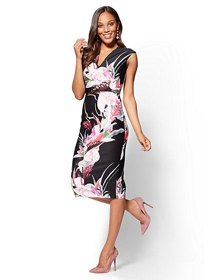 7th Avenue - V-Neck Sheath Dress - Floral - New York & Company