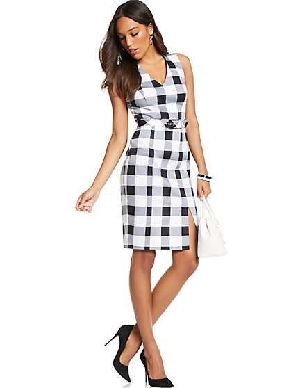 7th Avenue - V-Neck Sheath Dress - Modern - Gingham Print - New York & Company