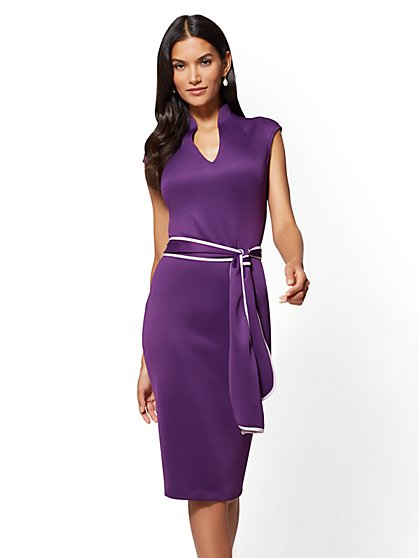 7th Avenue - V-Neck Sheath Dress - New York & Company
