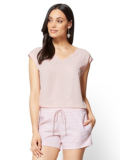 7th Avenue - V-Neck Tee - Pink - New York & Company
