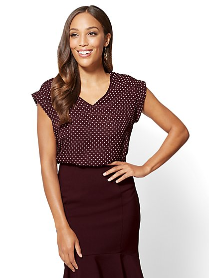 7th Avenue - V-Neck Tee - Polka-Dot Print - Tall - New York & Company