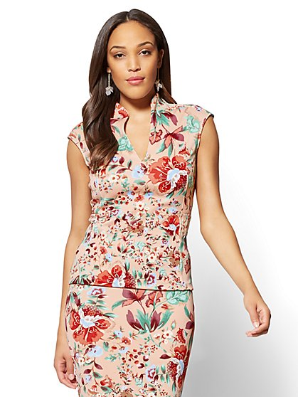 7th Avenue - V-Neck Top - Floral - New York & Company