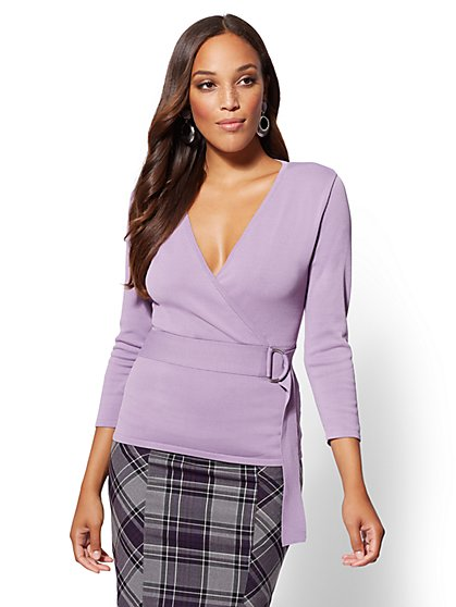 7th Avenue - V-Neck Wrap Sweater - New York & Company