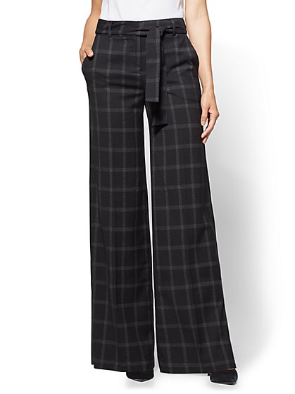 7th Avenue - Wide-Leg Pant - Black - Plaid  - New York & Company