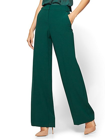 7th Avenue - Wide-Leg Pant - Green  - New York & Company