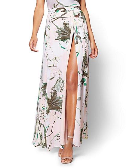 7th Avenue - Wrap Maxi Skirt - Tropical Print - Petite - New York & Company