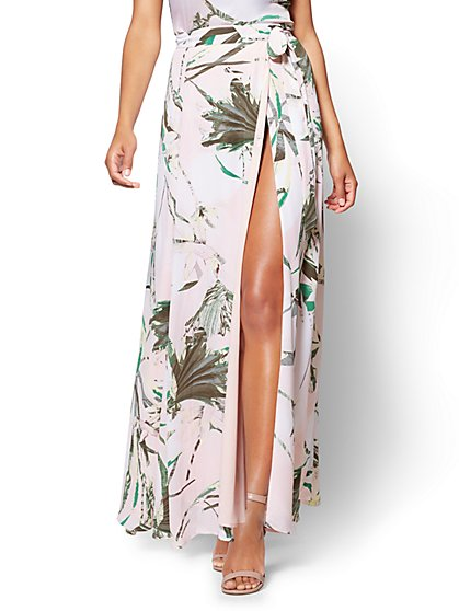 7th Avenue - Wrap Maxi Skirt - Tropical Print - New York & Company