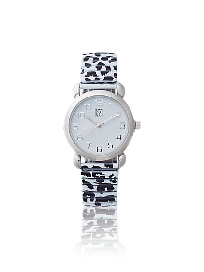 Animal-Print Stretch Band Watch  - New York & Company