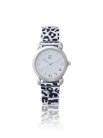 Animal-Print Stretch Band Watch  - New York & Company
