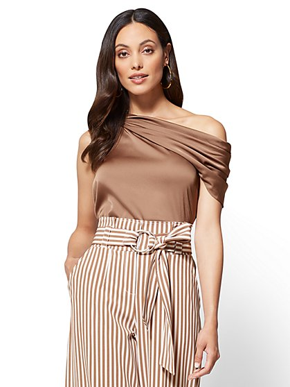 Asymmetrical Draped Blouse - New York & Company