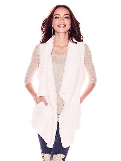 Asymmetrical-Hem Faux-Fur Vest - New York & Company
