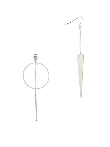 Asymmetrical Silvertone Drop Earring  - New York & Company