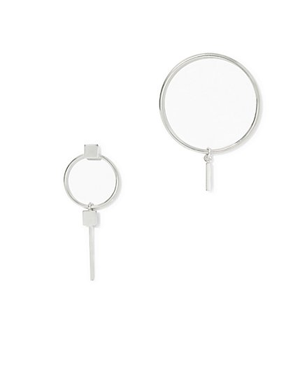 Asymmetrical Silvertone Hoop Earring  - New York & Company