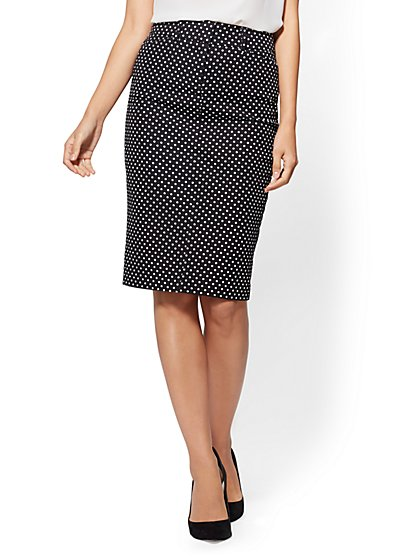Audrey Pencil Skirt - Black & White Dot - New York & Company