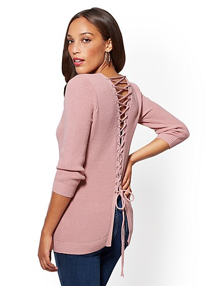Back Lace-Up Pullover  - New York & Company