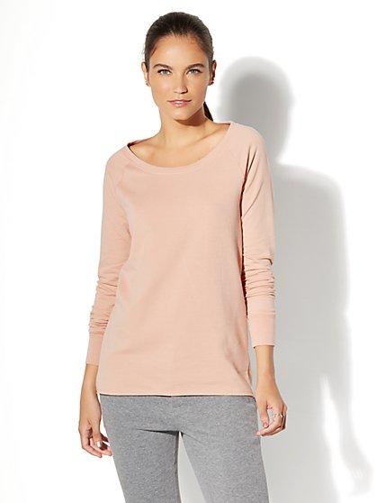 Back-Twist Knit Tunic Top - Blush - New York & Company