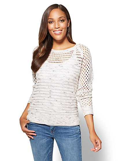 Back-Zip Open-Stitch Sweater - New York & Company
