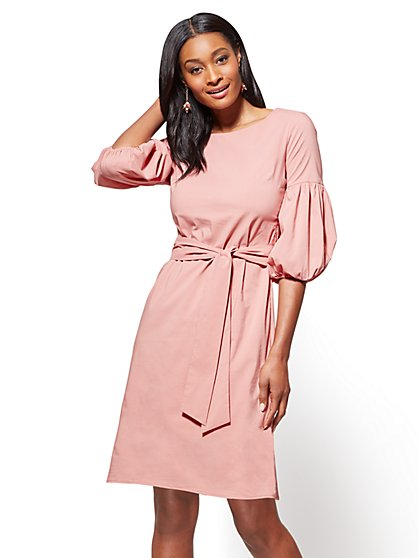 Balloon-Sleeve Poplin Dress - New York & Company