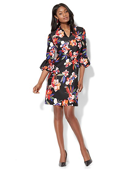 Balloon-Sleeve Shift Dress - Black Floral - New York & Company