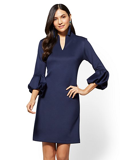Balloon-Sleeve Shift Dress - Petite - New York & Company