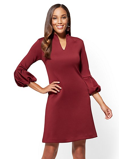 Balloon-Sleeve Shift Dress - Tall - New York & Company