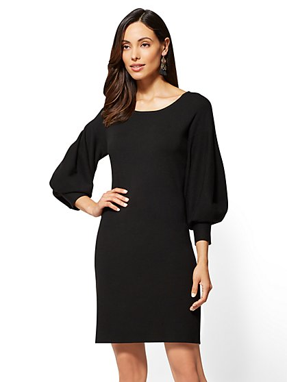 Balloon-Sleeve Sweater Dress - New York & Company