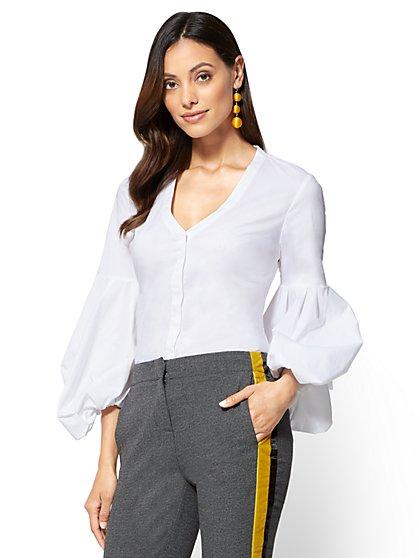 Balloon Sleeve V-Neck Shirt - New York & Company