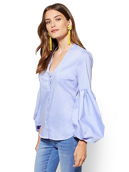 Balloon Sleeve V-Neck Shirt - New York & Company