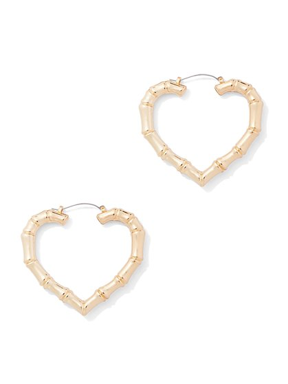 Bamboo Heart Hoop Earring - New York & Company