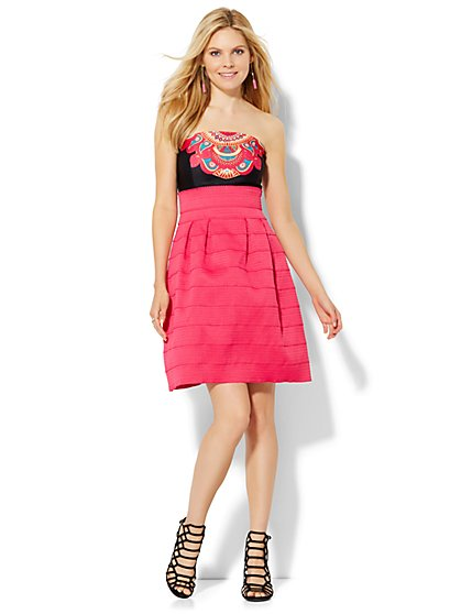 Bandage Fit & Flare Dress - Pink  - New York & Company