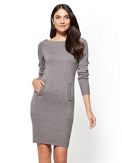Bateau-Neck Sweater Dress - New York & Company