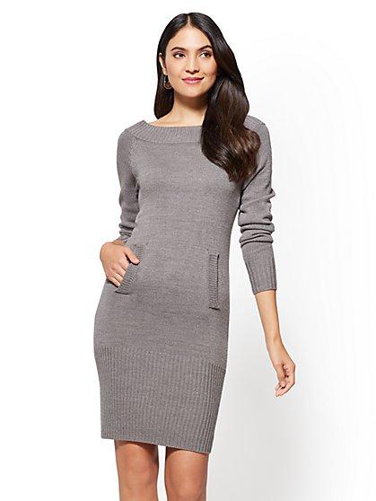 Bateau-Neck Sweater Dress - New York & Company