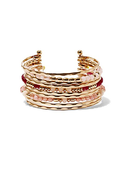 Beaded Bangle Cuff Bracelet  - New York & Company