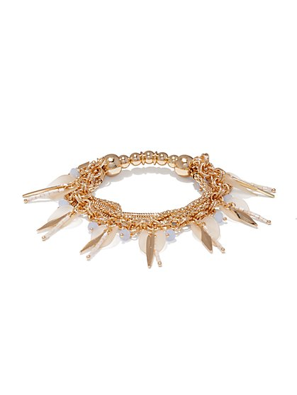 Beaded Chain-Link Stretch Bracelet  - New York & Company