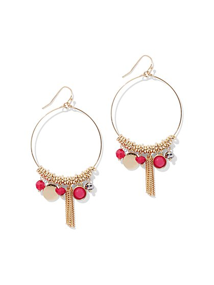 Beaded Charm Hoop Drop Earring - New York & Company