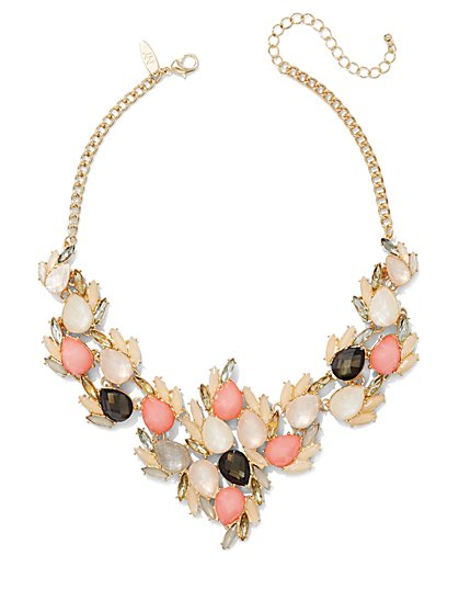 Beaded Cluster Bib Necklace  - New York & Company