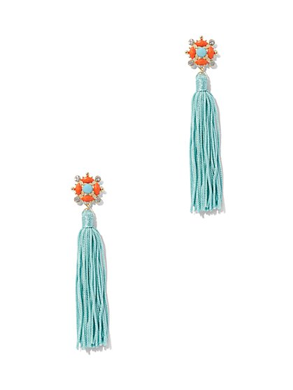 Beaded Cluster & Tassel Drop Earring - New York & Company