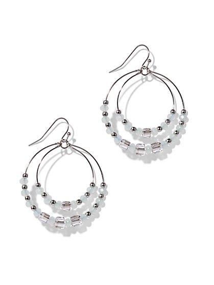 Beaded Double-Hoop Drop Earring  - New York & Company
