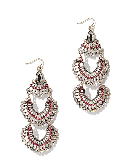 Beaded Double Teardrop Earring  - New York & Company