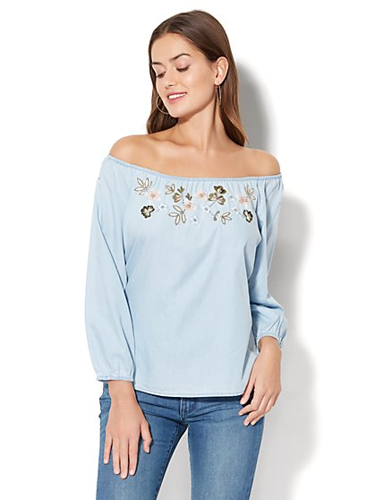 Beaded & Embroidered Off-The-Shoulder Blouse - Light Indigo - New York & Company