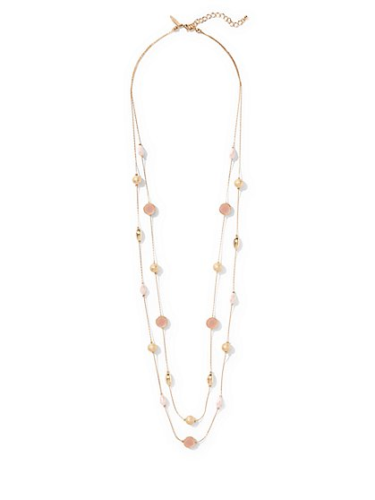 Beaded Faux-Druzy Stone 2-Row Illusion Necklace  - New York & Company